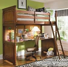 Wooden Loft Bunk Beds Bedroom Classic Style Wooden Loft Bunk Bed With Desk Underneath