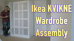 ikea kvikne wardrobe with 2 sliding doors assembly youtube