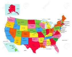map of us states political states and blue with map us political