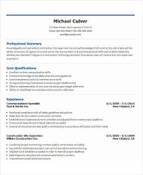 Sample Resume For Construction Site Supervisor by 26 Free Work Resume Templates Free Word Pdf Documents Download