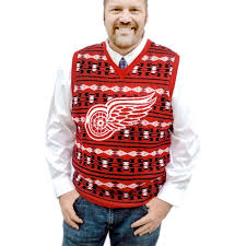 nhl licensed detroit redwings tacky sweater vest