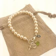 birthstone gift classic pearl bracelet with cross initial and birthstone gift