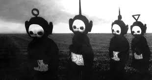 teletubbies in black white look like a horror bored panda
