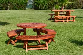 Collapsible Picnic Table Round Wood Folding Picnic Table With Curved Benches Forever Redwood