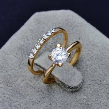 ladies finger rings images Fashion jewelry new gold plated filled cz zircon finger ring set jpg
