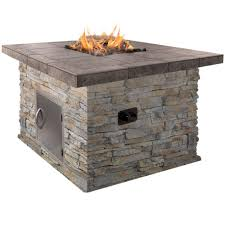 Propane Fireplace Logs by Cal Flame 48 In Natural Stone Propane Gas Fire Pit In Gray With