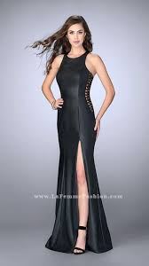 2017 la femme 23806 black lace up sides leather prom dresses for