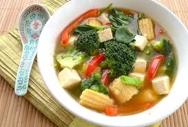 colorful asian style vegetable tofu soup
