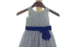 cotton white blue stripes navy bow flower dress wedding