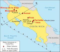 san jose costa rica on map costa rica volcanoes map the costa rica news