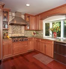 congenial kitchen then cherry wood cabinetry stock photo of in