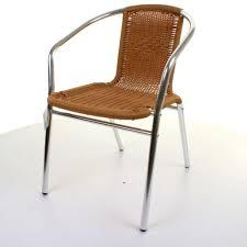 Aluminium Bistro Chairs Aluminium Chrome Bistro Chair Stacking Tan Wicker