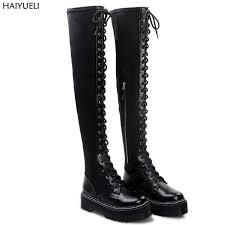 womens boots the knee bota cano alto winter boots black knee boots lace