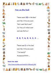 Bed Song English Worksheets Ten In The Bed Song