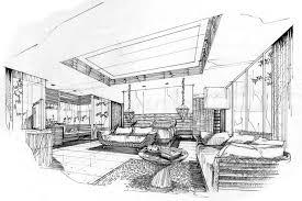 chambre en perspective esquissez la chambre à coucher intérieure de perspective conception