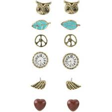 earring stud set peace and owl stud earring set polyvore