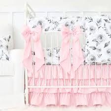 Pink Gray Crib Bedding Hazy Gray Watercolor Bouquet Ruffle Crib Bedding Caden