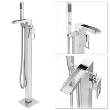 plaza waterfall floor mounted freestanding bath shower mixer