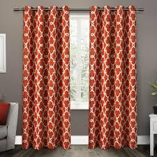 Orange Thermal Curtains Gates Mecca Orange Sateen Blackout Thermal Grommet Top Window