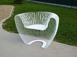 original design armchair stainless steel for public spaces