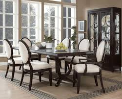 Black Wooden Dining Table And Chairs Simple Three Armed Chandelier Vintage Brown Windowed Cupboard