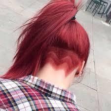redhair nape shave red hair ponytail undercut sidecuts undercuts pinterest