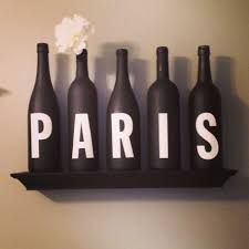 paris themed decor winebottles paris diy half bath