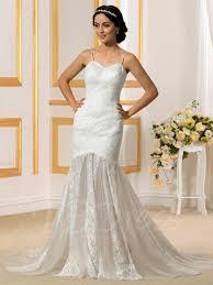 wedding dress sheer straps sheer skirt spaghetti straps trumpet mermaid lace wedding dress