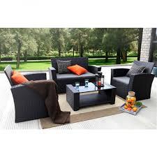Black Resin Patio Furniture Resin Wicker 4 Piece Outdoor Patio Furniture Set