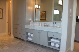 modern master bath cabinets in gray with soco doors and tall towel