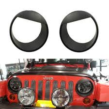 jeep angry headlights 2pcs bezels front light headlight angry bird style trim cover abs