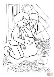 gerda and kai are in the garden coloring page free printable