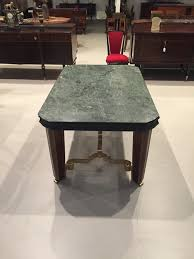 french art deco dining table with marble top u0026 gold hardware