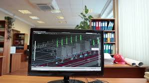 Model Building Desk Construction Engineer Working Place With 3d Model In Computer And