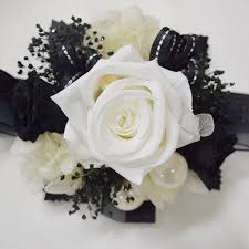 black and white corsage wrist corsage wc18 pearl white black endura flora