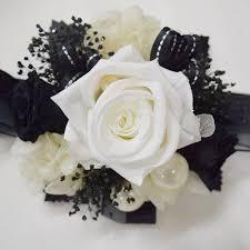 white wrist corsage wrist corsage wc18 pearl white black endura flora