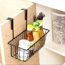 cabinet door mounted spice rack kitchen organizer iron cabinet door hanging storage basket drainer