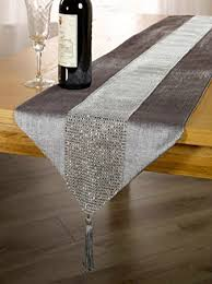 eclat tasselled table runner silver co uk kitchen home