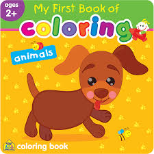 my first book of coloring animals uses simple pictures to