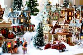 christmas village decorations sale dogs cuteness indoor