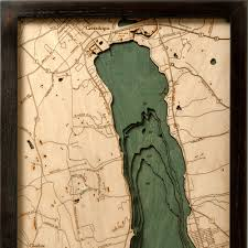 Canandaigua New York Map by Canandaigua Lake Wood Map 3d Nautical Topographic Chart Framed Art