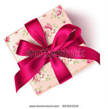 floral gift box decorative floral gift box bow stock vector 603953219