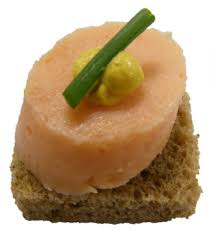 mousse canape cut smoked salmon mousse square rye bread saffron butter chive