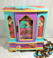 pastel jewelry armoire large jewelry box bright mexican jewelry