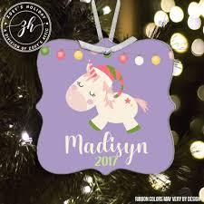 christmas ornament personalized whimsical unicorn aluminum ornament