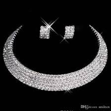silver bridal necklace images 2018 crystal bridal jewelry set 925 silver plated necklace jpg