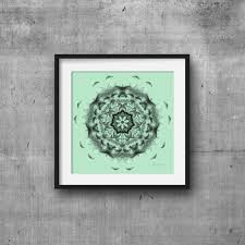 Bedroom Decor Green Walls Black And Mint Green Wall Art Print Mandala Print Geometric