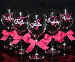 how to personalize a wine glass personalized and bridesmaid wine glasses wedding gift