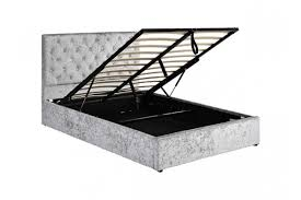 chatsworth crushed silver diamante ottoman storage bed double king