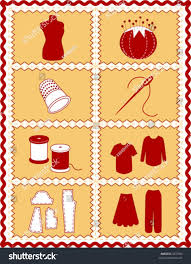 sewing tailoring tools dressmaking textile arts stock vector